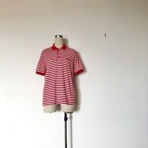 The Fox - Vintage Red & White Stripe Polo Shirt